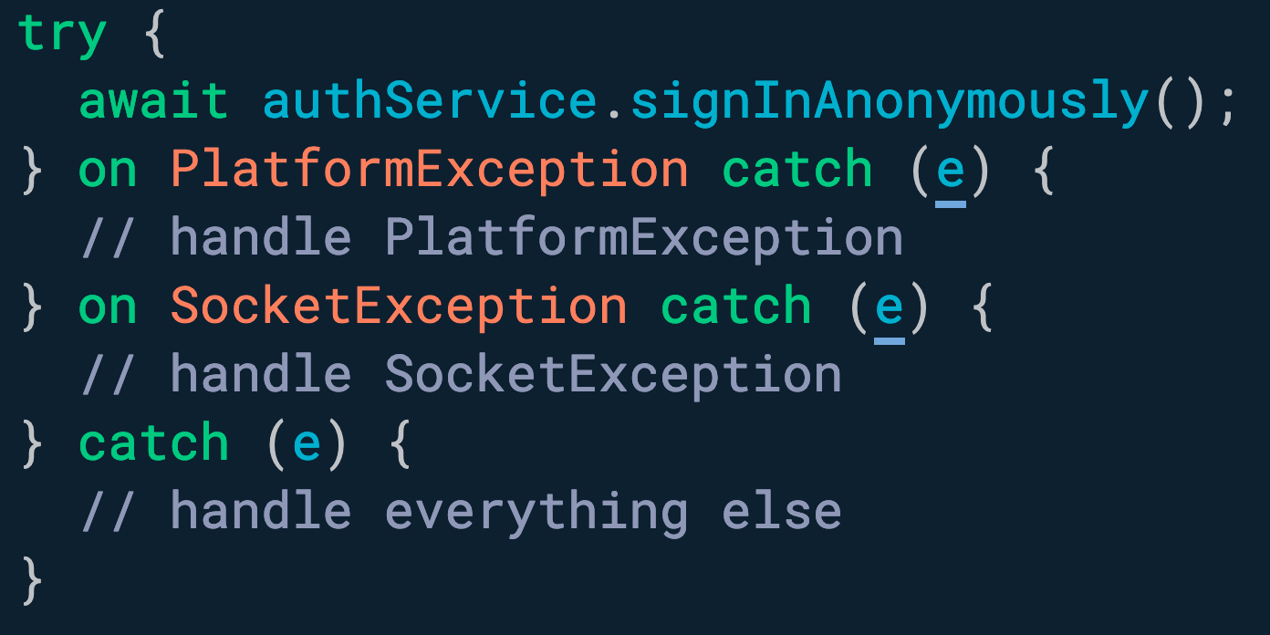 您可以使用多个 <!-- raw HTML omitted -->on<!-- raw HTML omitted --> 子句按类型捕获和处理异常。