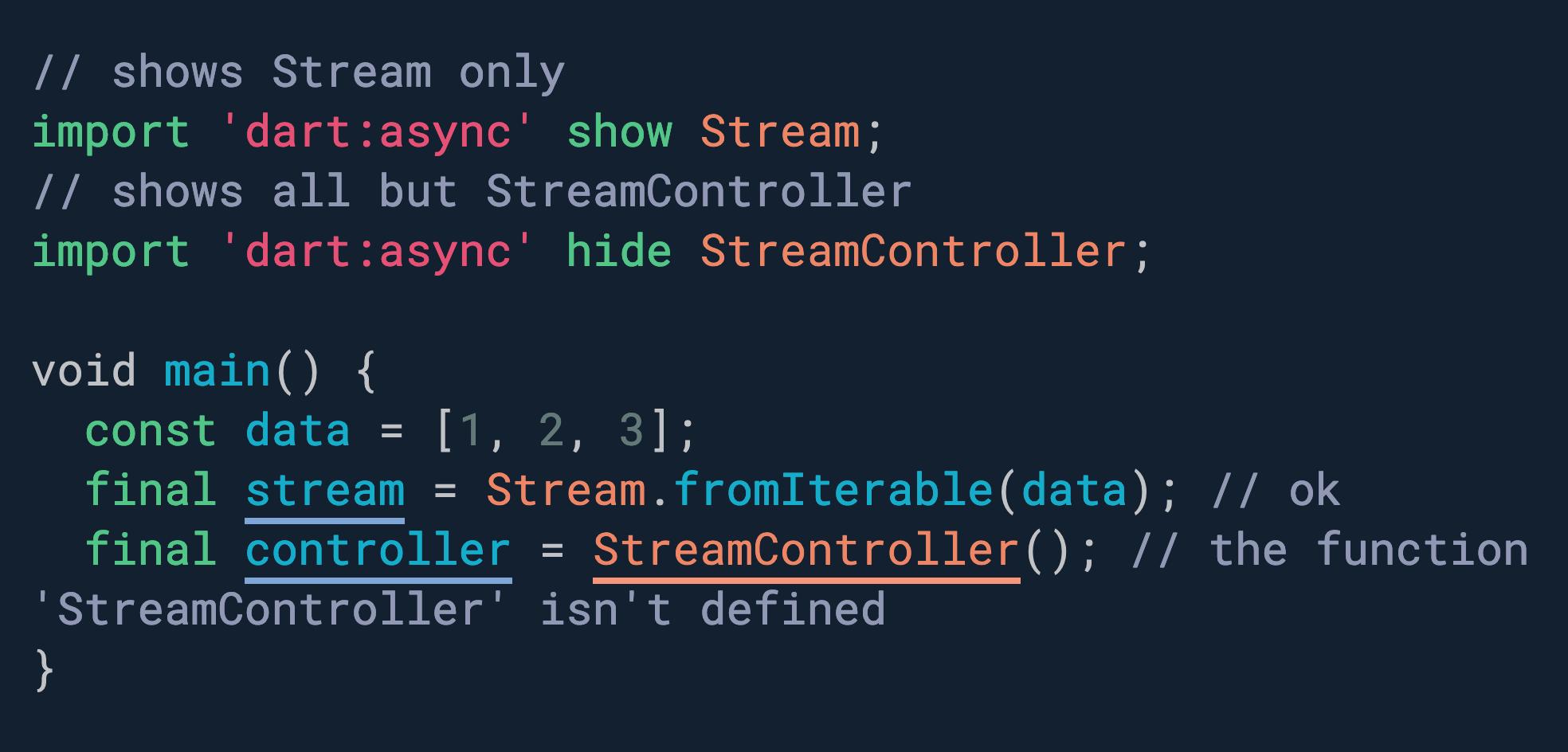 想要选择性地导入某个包中的一些 API? 使用显示和隐藏。