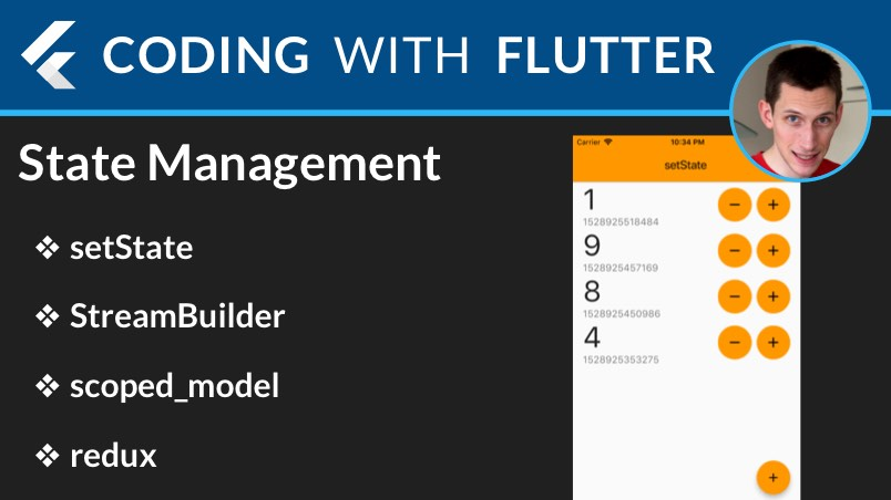 Flutter State Management: setState, StreamBuilder, Scoped Model, Redux